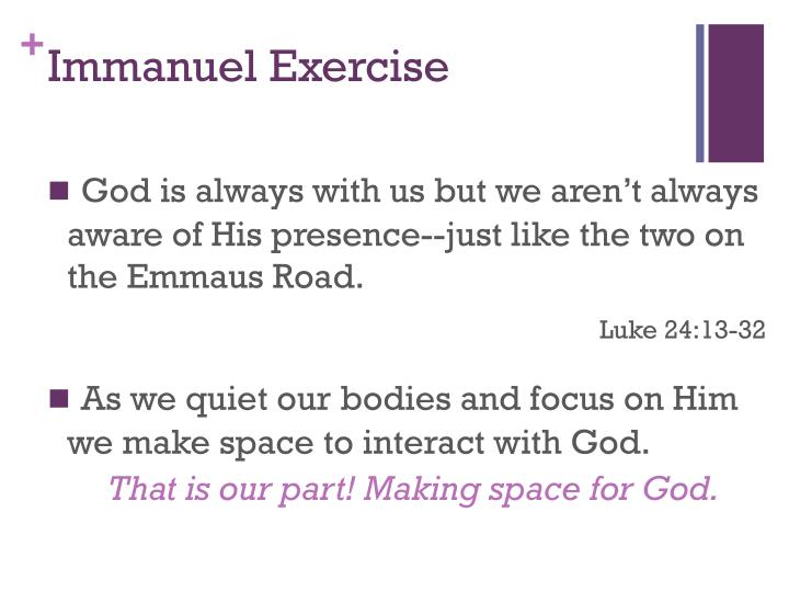 Immanuel exercise