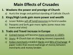 main effects of crusades
