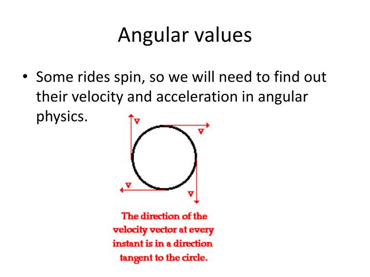Angular values
