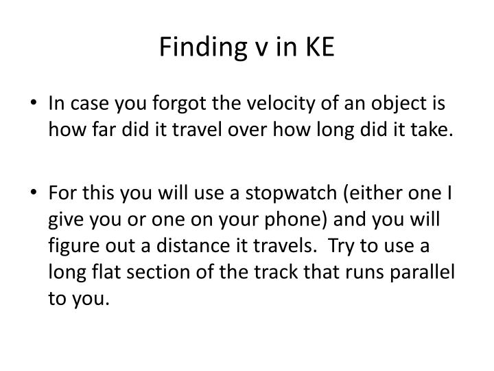 Finding v in KE