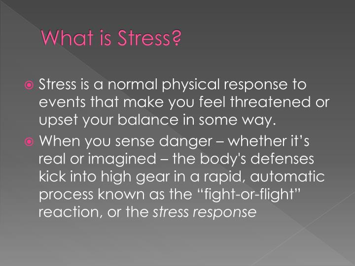 the bodys response to stress in the form of short term and long term consequences The long term effects of stress on the body may result in the immune system being weakened the stress may not be all negative stress positive stress, such as working out and being particularly.