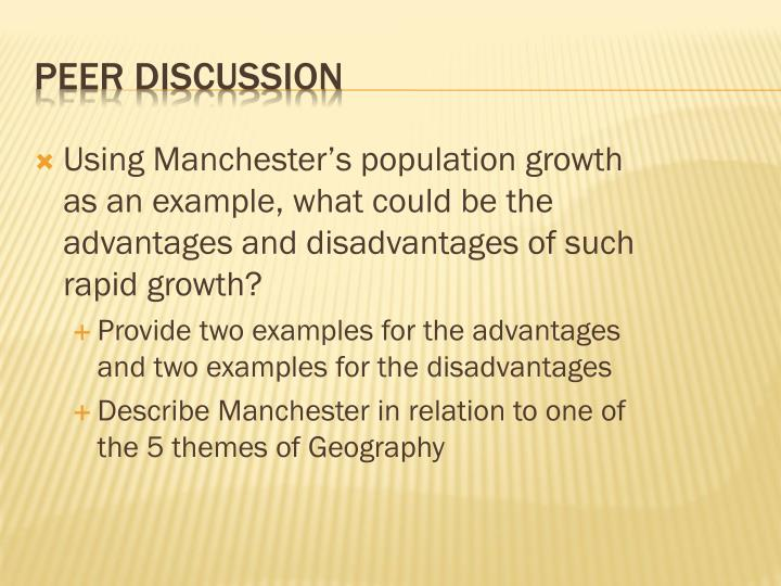 Using Manchester's population growth as an example, what could be the advantages and disadvantages of such rapid growth?