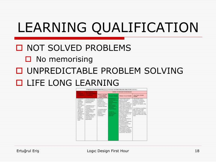 LEARNING QUALIFICATION