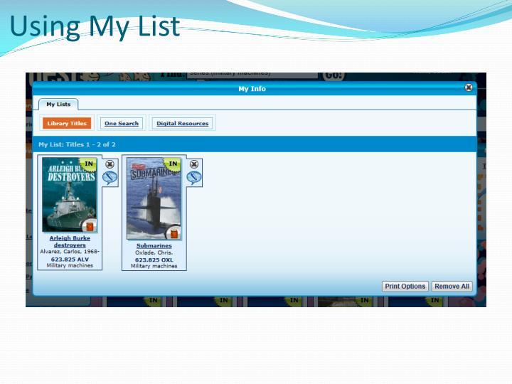 Using My List