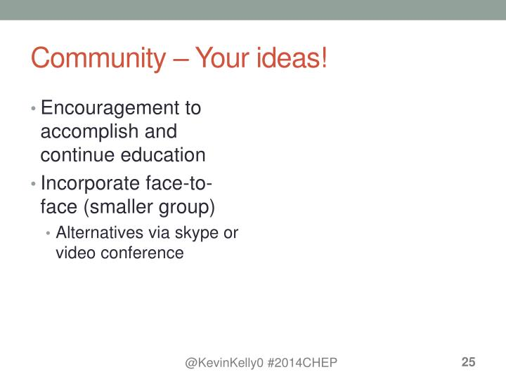 Community – Your ideas!