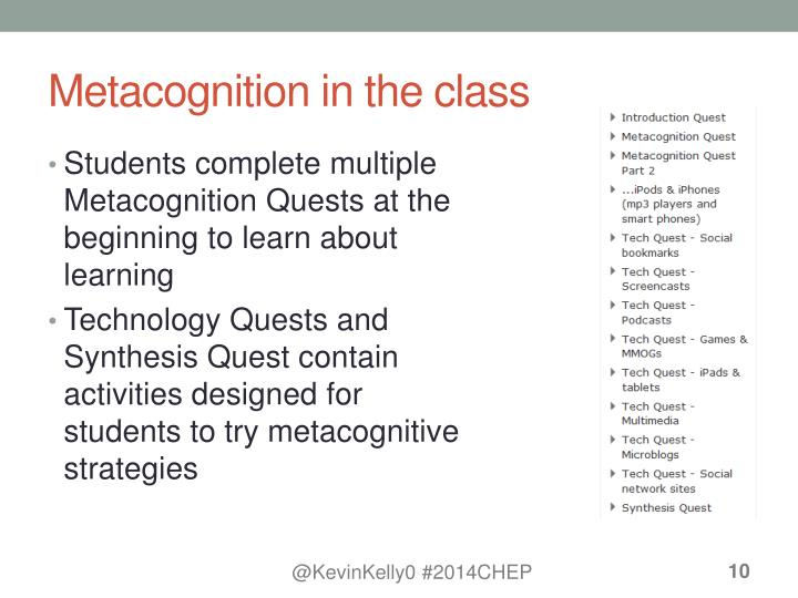 Metacognition in the class