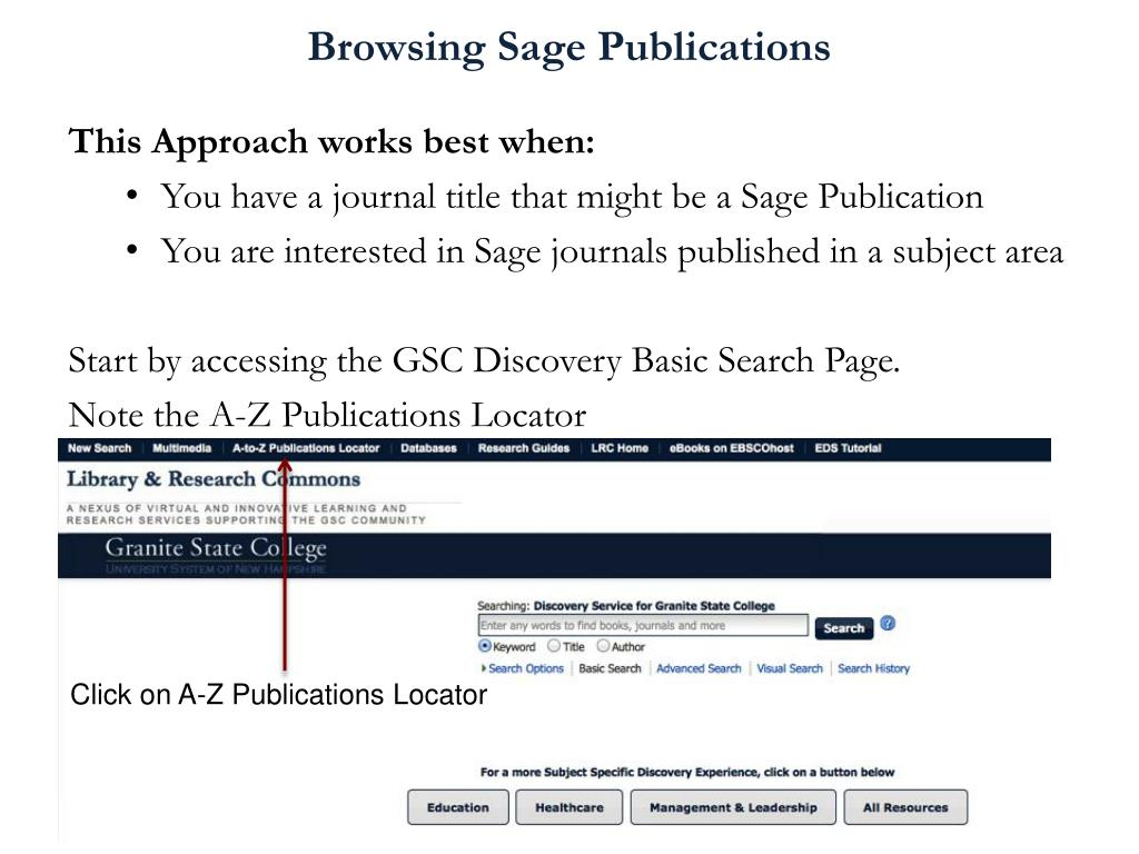 PPT - How to Access and Use the Sage Premier Journal