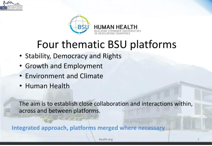Four thematic BSU platforms
