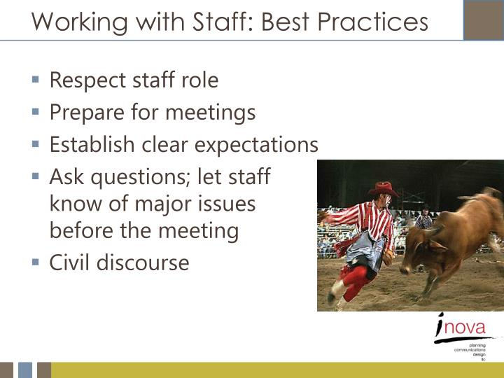 Working with Staff: Best Practices