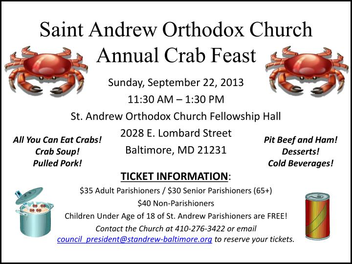saint andrew orthodox church annual crab feast n.