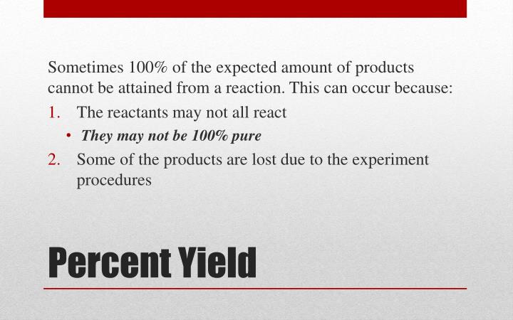 how to find percentage yield of a product