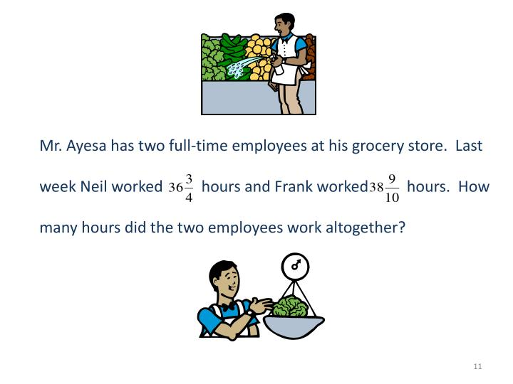 Mr. Ayesa has two full-time employees at his grocery store.  Last