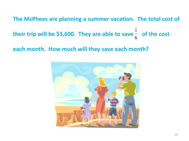 The McPhees are planning a summer vacation.  The total cost of