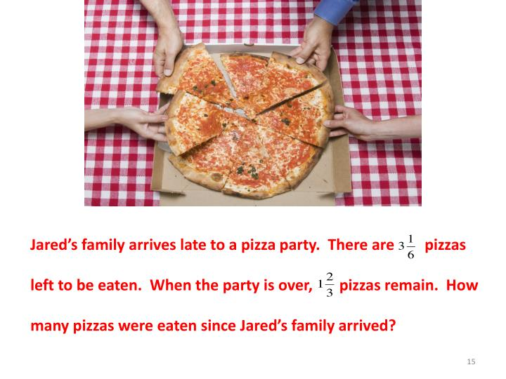 Jared's family arrives late to a pizza party.  There are        pizzas