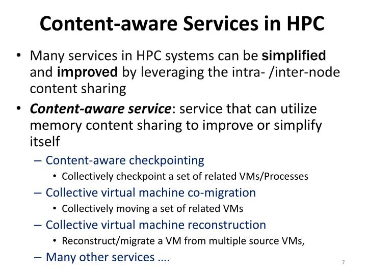 Content-aware Services in HPC
