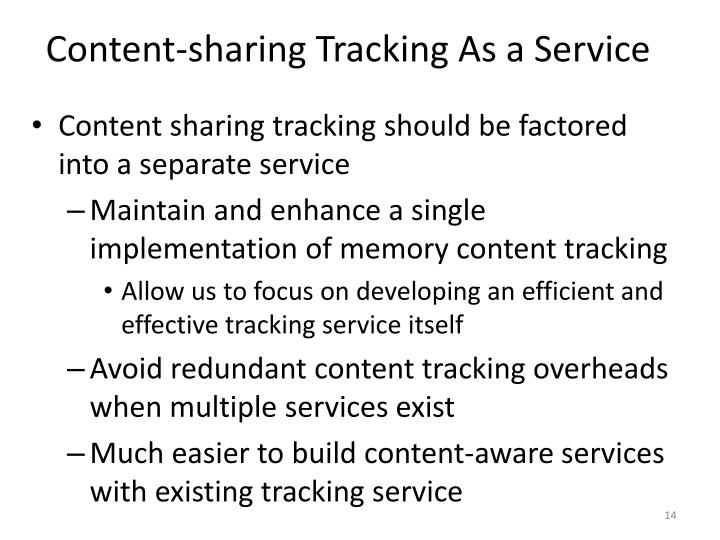 Content-sharing Tracking As a Service