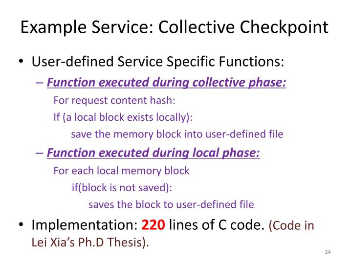 Example Service: Collective Checkpoint