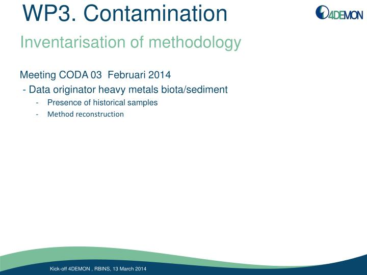 WP3. Contamination