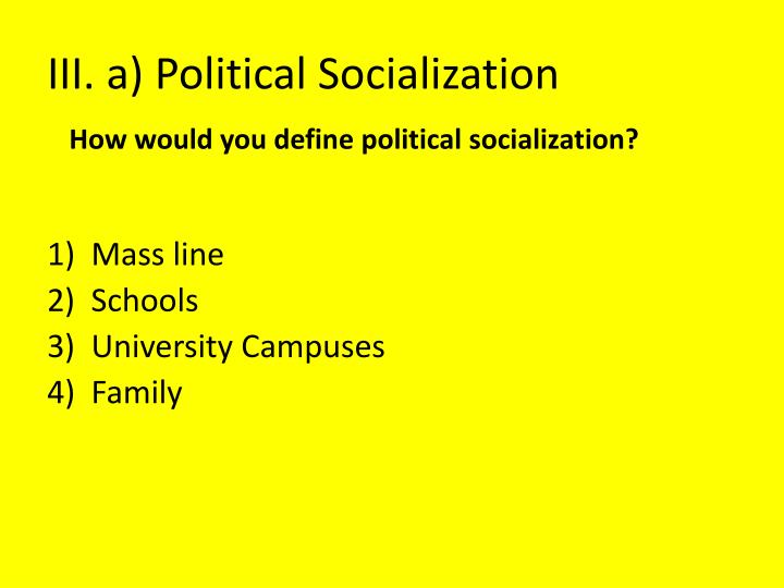 5 factors of political socialization Start studying 4 factors that influence political socialization learn vocabulary, terms, and more with flashcards, games, and other study tools.