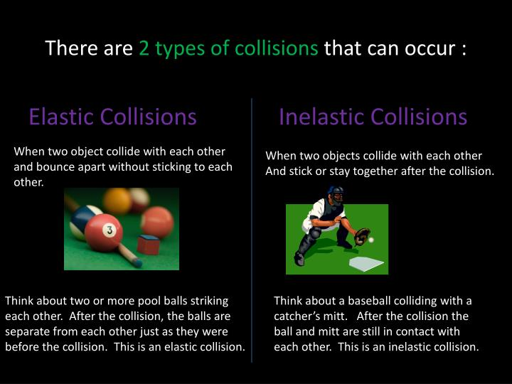 There are 2 types of collisions that can occur