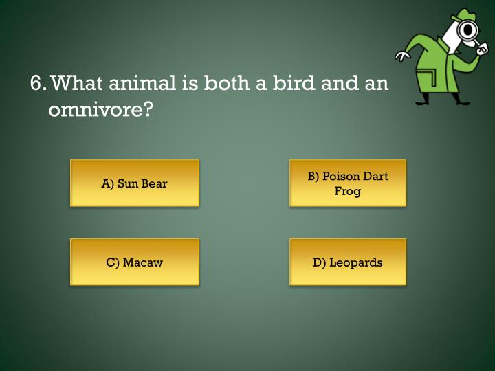 6. What animal is both a bird and an omnivore?