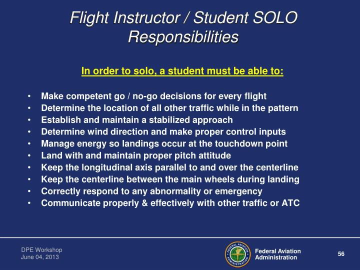 Flight Instructor / Student SOLO   Responsibilities