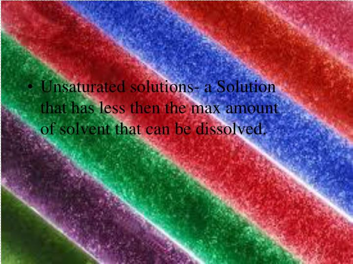 Unsaturated solutions- a Solution that has less then the max amount of solvent that can be dissolved.