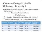 calculate change in health outcome linearity ii