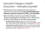 calculate change in health outcomes mortality example