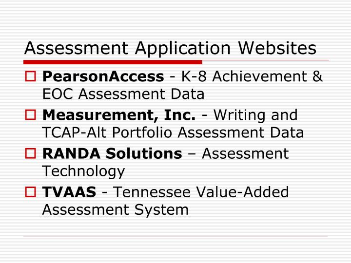 Assessment Application Websites