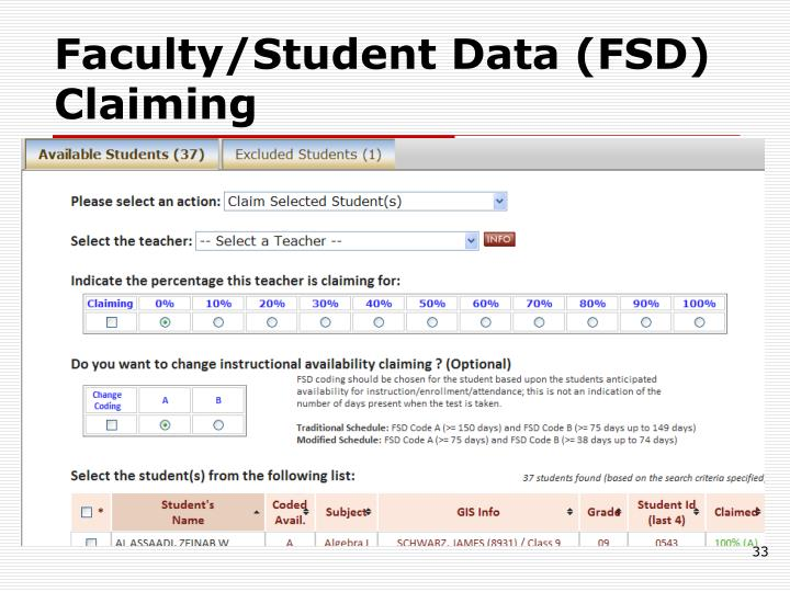 Faculty/Student Data (FSD) Claiming