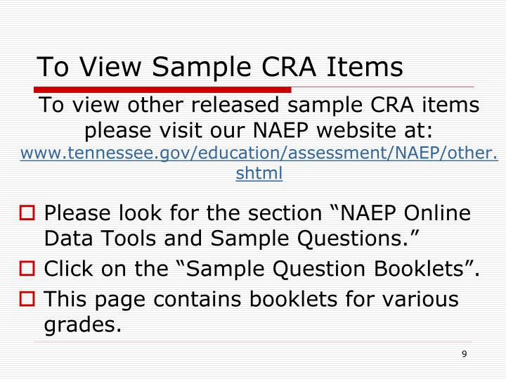 To View Sample CRA Items