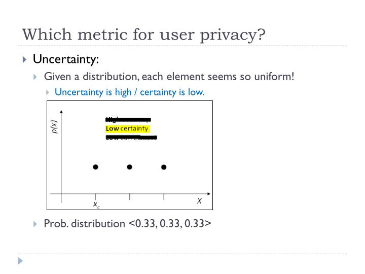 Which metric for user privacy