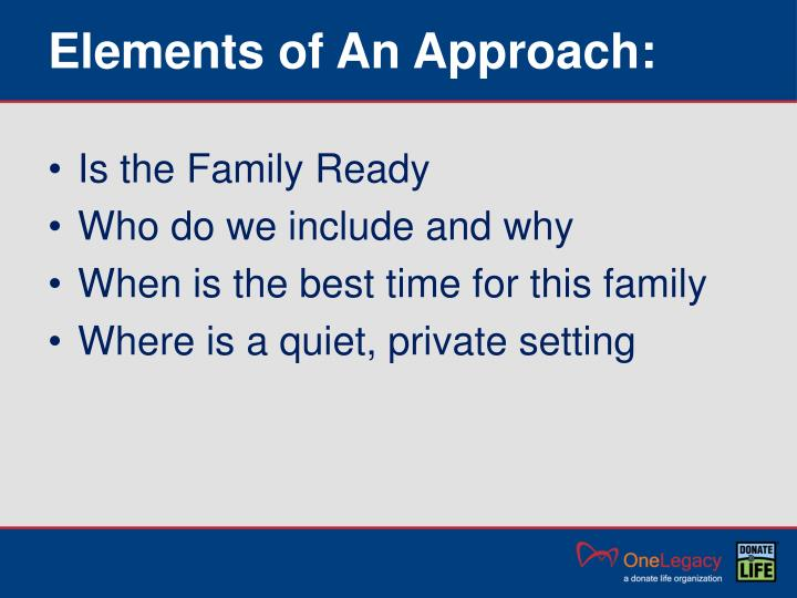 Elements of An Approach: