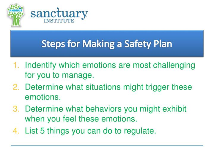 Steps for Making a Safety Plan