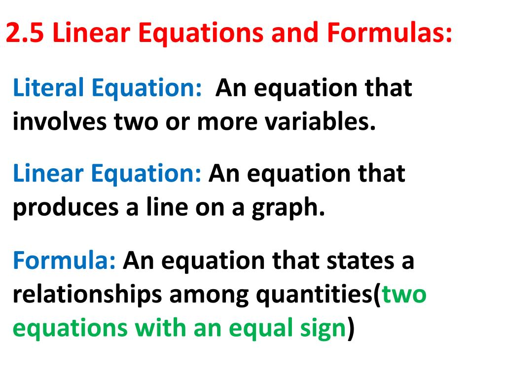 ppt - 2.5 linear equations and formulas: powerpoint presentation