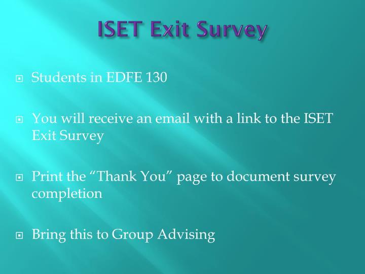 ISET Exit Survey