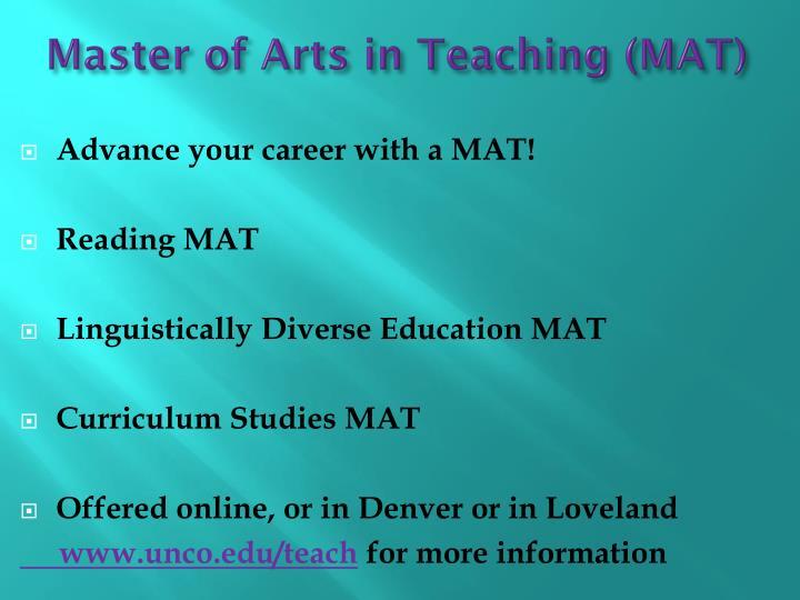 Master of Arts in Teaching (MAT)