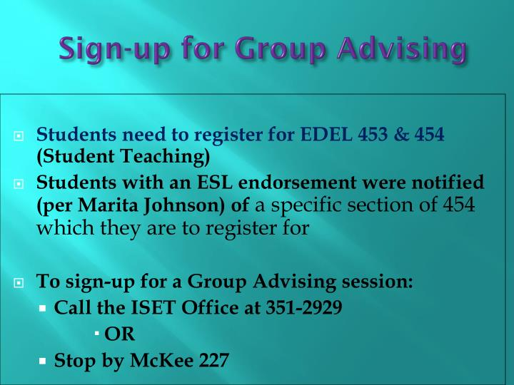 Sign-up for Group Advising