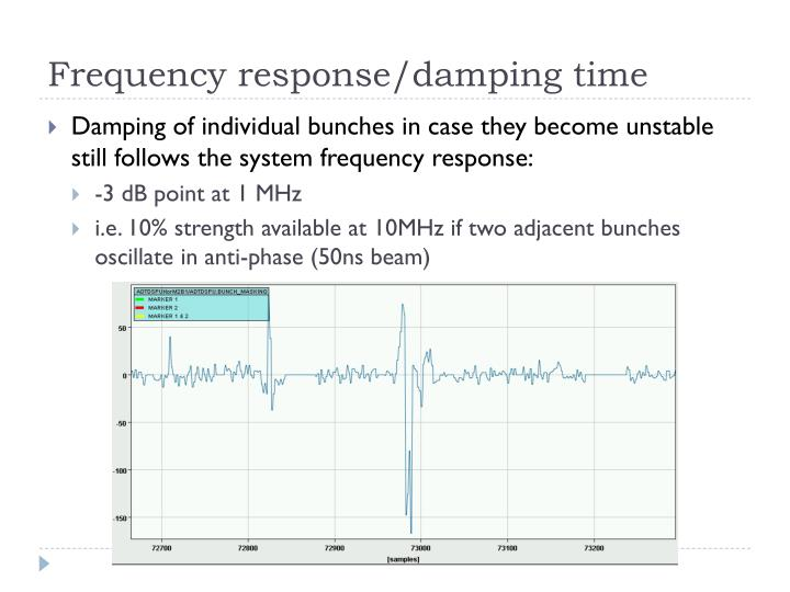 Frequency response/damping time