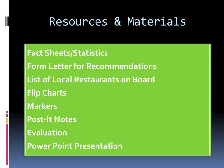 Resources & Materials