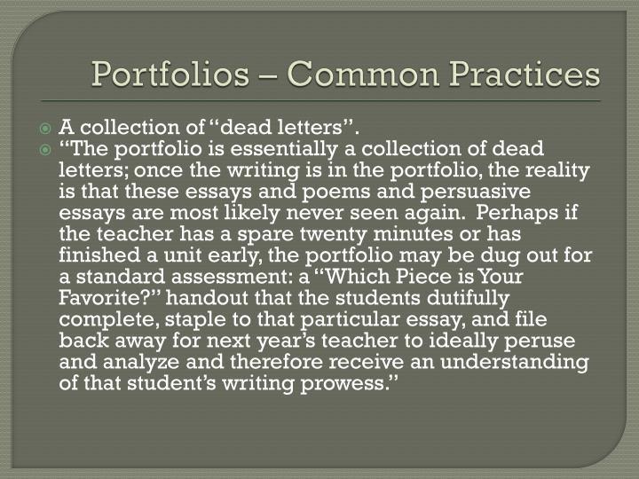Portfolios common practices