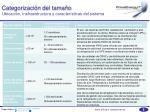 categorizaci n del tama o ubicaci n insfraestructura y caracter sticas del sistema