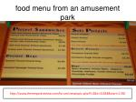food menu from an amusement park