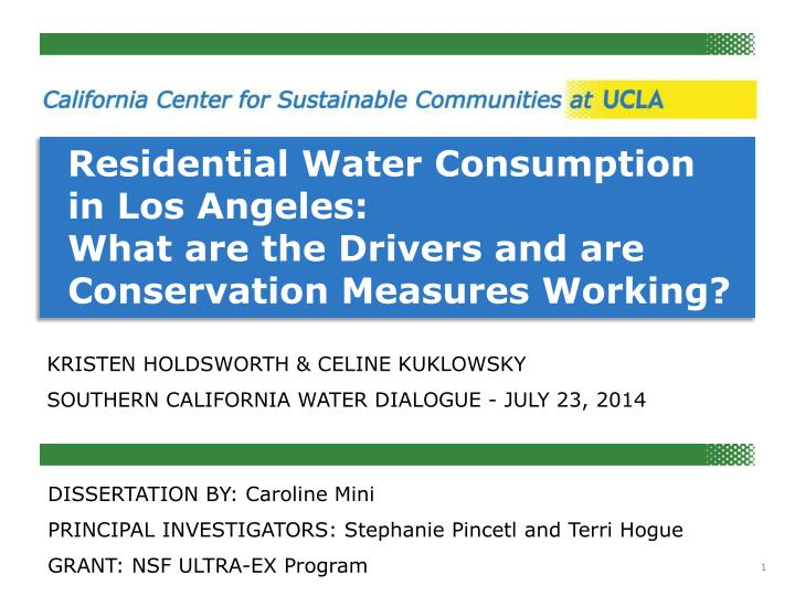 Residential Water Consumption in Los Angeles: