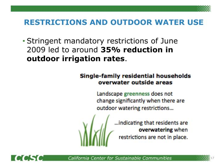 RESTRICTIONS AND OUTDOOR WATER USE