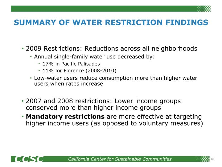 SUMMARY OF WATER RESTRICTION FINDINGS