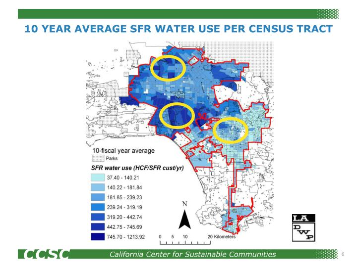 10 YEAR AVERAGE SFR WATER USE PER CENSUS TRACT