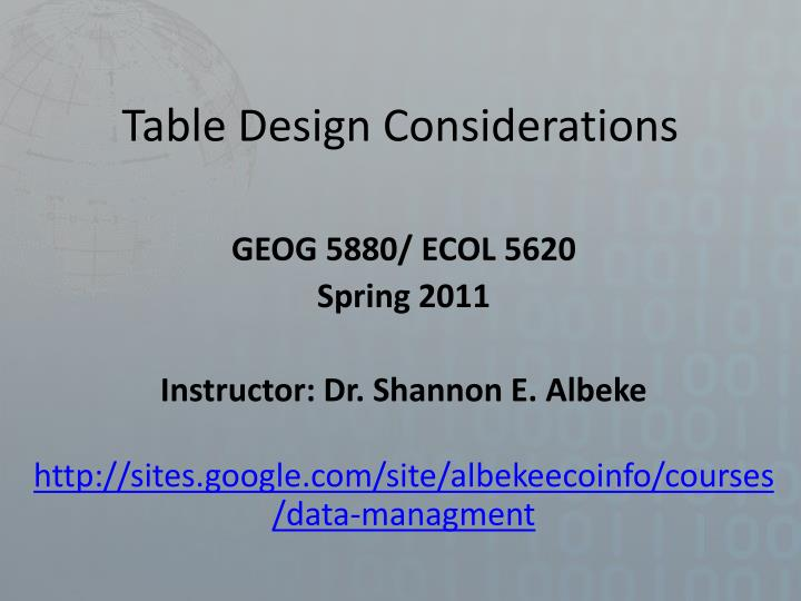 table design considerations n.