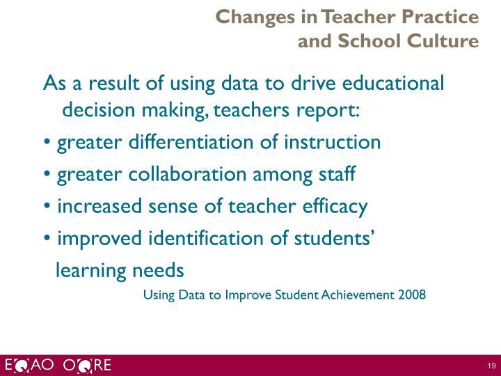 Changes in Teacher Practice